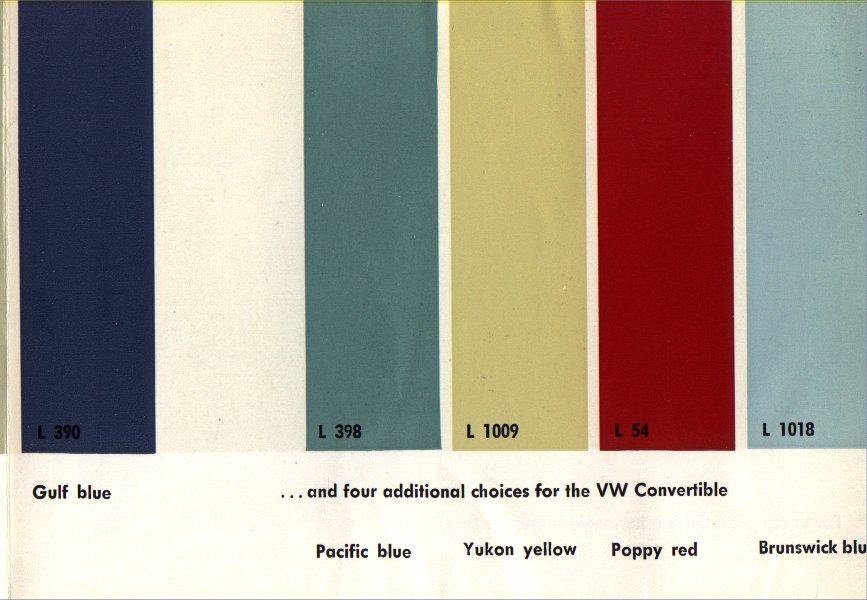 Aircooled VW Colours/Colors